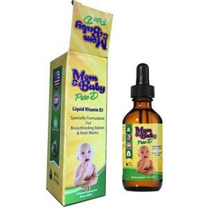Mom & Baby Pure Vitamin-D – Best Liquid Vit D Supplement – Perfect Potency Natural Vitamin D for Breastfeeding Babies – 400 IU Vitamin-D3 Per Drop/Economic bottle.