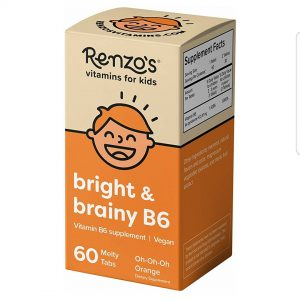 Renzo's Bright & Brainy B6, Vegan Dissolvable Vitamins for Kids, Zero Sugar, Oh-Oh-Oh Orange Flavor, 60 Melty Tabs