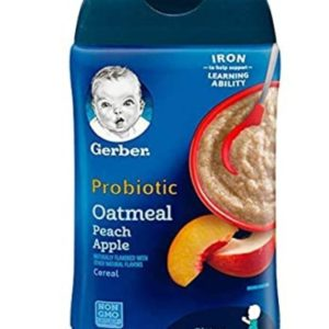 GERBER Baby Probiotic Oatmeal and Peach Apple Baby Cereal, 8 oz (227 gr.)