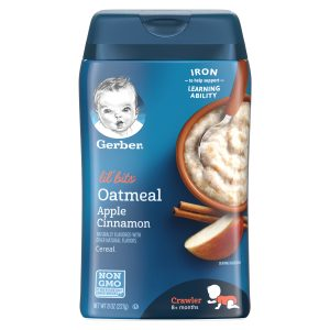 GERBER LIL' BITS Oatmeal Apple Cinnamon Baby Cereal, 8 oz(227 gr.)