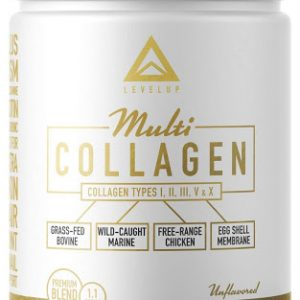 Level Up NEW!! Multi-Collagen Protein PLUS Biotin Hyaluronic Acid MSM Glucosamine – Grassfed Bovine – Wild Marine – Free Range Chicken – Eggshell Membrane – Perfect Keto Collagen Type I II III V X – 1.1 LBS