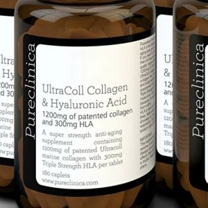 Pureclinica 1200mg of UltraColl Collagen & 300mg of Hyaluronic Acid per tablet.180 tablets