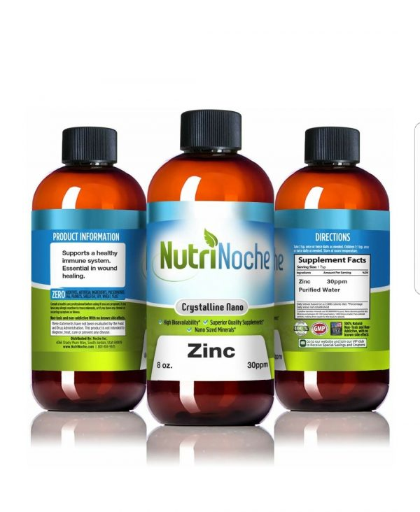 NutriNoche Liquid Zinc – Best Zinc Supplement – Colloidal Minerals – 30 PPM 8 oz Bottle – Highly Absorbable Zinc Supplement