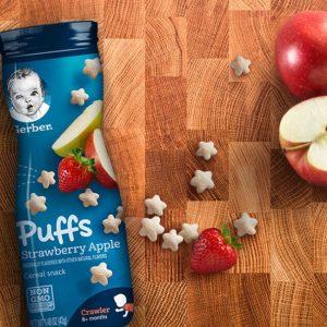 Gerber Puffs Strawberry Apple, 1.48 oz(42 gr)