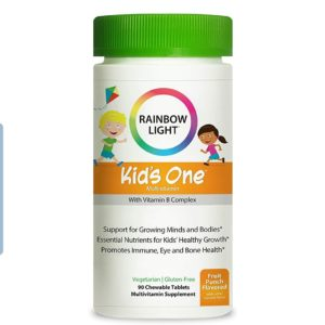 Rainbow Light – Kids One Food-Based Multivitamin – Chewable Probiotic, Vitamin, and Mineral Supplement; Soy and Gluten-Free; Supports Brain, Bone, Heart, Eye and Immune Health in Kids – 90 Tablets