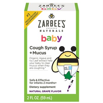 Zarbee's Naturals Baby Cough Syrup + Mucus, Natural Grape Flavor, 2 Fl. Ounces, safe and effective for infants 2 months+ Safe, effective, drug free