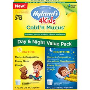 Hyland's 4 Kids Cold 'n Mucus Day & Night Value Pack, Natural Relief of Cold & Mucus, 8 Ounces (236 ml)