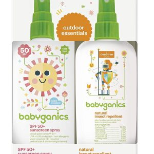Babyganics Baby Sunscreen Spray SPF 50, 6oz Spray Bottle + Natural Insect Repellent 6oz Spray Bottle Combo Pack (177 ml+177 ml)