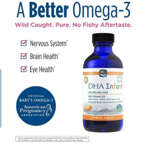 Nordic Naturals Baby's DHA Liquid – Omegas From Arctic Cod Liver Oil Support Brain, Vision and Healthy Development, With Vitamin A and Vitamin D3, 2 Ounce (60 ml)