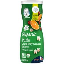 Gerber Organic Puffs, Cranberry Orange, 1.48 oz. (42 gr)