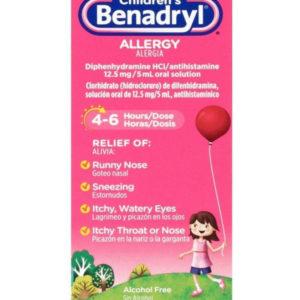 Children's Benadryl Dye-Free Allergy Liquid with Diphenhydramine HCl, Cherry Flavor, 4 fl. oz ( 118 ml )