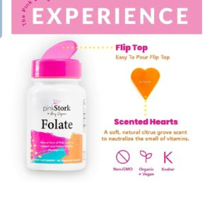 Pink Stork Folate: Superior Form of Folic Acid, Recommended Before and During Pregnancy, 60 Small Capsules (600 mcg)