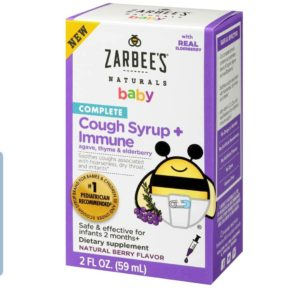 Zarbee's Naturals Children's Complete Daytime Cough Syrup* + Immune, Berry Flavor, 2 Ounce Bottle 59 ml