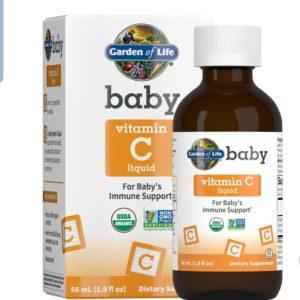 Garden of Life Baby Vitamin C Liquid for Baby's Immune Support, Liquid Vitamin C Drops for Babies, Immune Support from Organic Amla Fruit, Non-GMO, Vegan, Gluten Free Drops, 56 mL (1.9 fl oz) Liquid