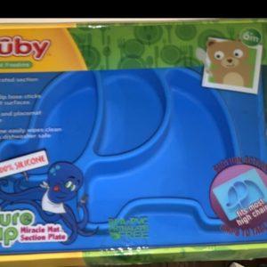 Nuby Sure Grip Animal Placemat, Blue Elephant