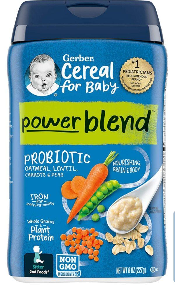 Gerber Powerblend Cereal for Baby – Oatmeal Lentil Carrot Pea Probiotic (227 gr.)