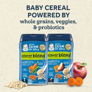 Gerber Powerblend Cereal for Baby – Oatmeal Lentil Carrot Pea Probiotic (227 gr.)+ Apple Carrot(227 gr.) 2 li paket